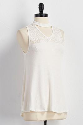 lace mock cutout neck tank