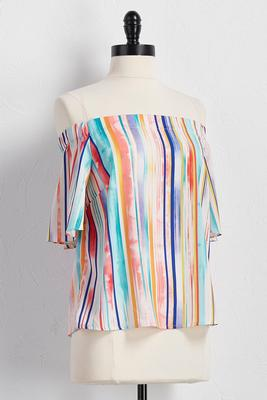 painted stripe off the shoulder top