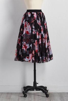 floral mesh midi skirt
