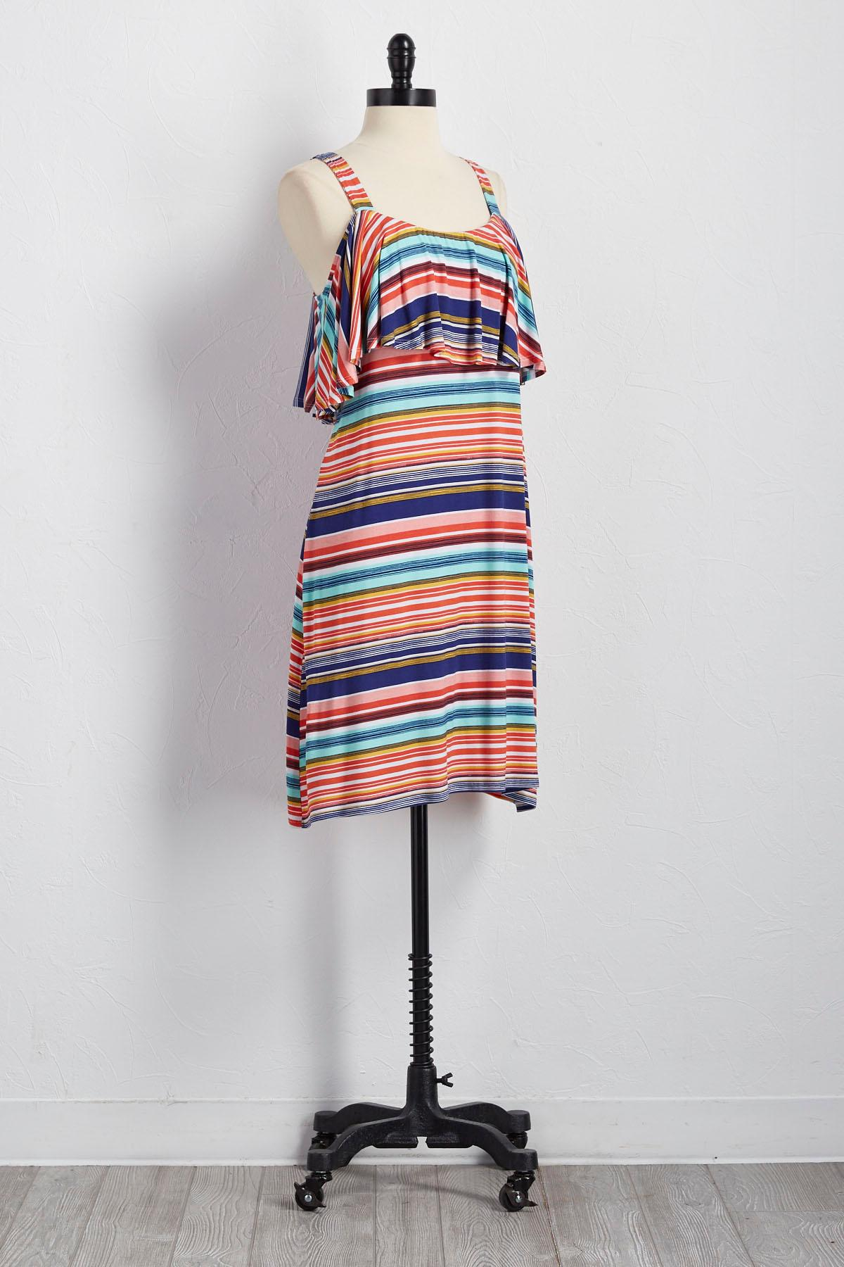 Flounced Bare Shoulder Striped Knit Dress