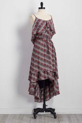 floral flounced high-low dress