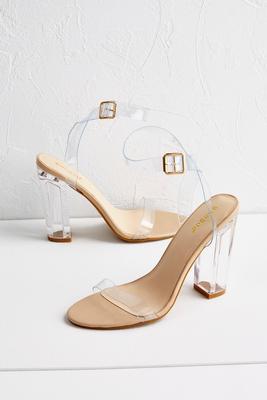 lucite block heels