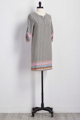 border print split neck shift dress