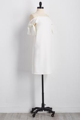 bare shoulder shift dress