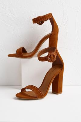 whipstitch block heel sandals