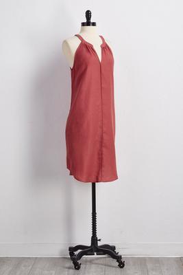 v-neck linen blend shift dress