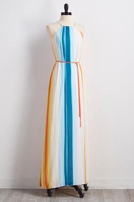 rainbow sorbet striped maxi dress