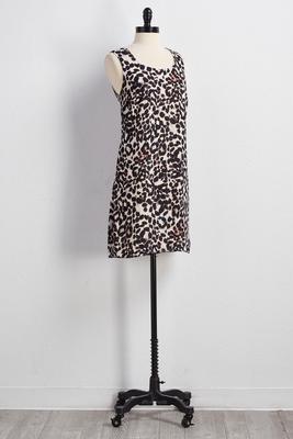 lattice back leopard shift dress