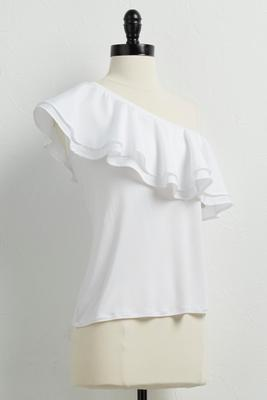 ruffled mixed media one shoulder top
