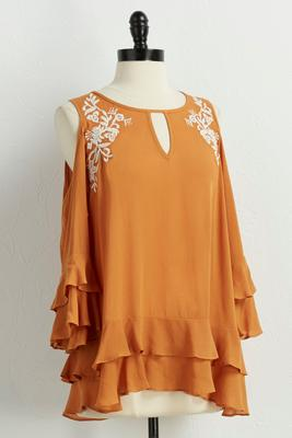 embroidered bare shoulder poet top