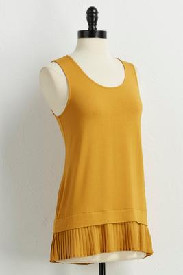 pleat hem high-low tank
