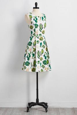 blooming cactus fit and flare dress