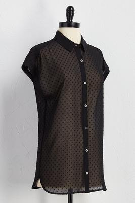swiss dot button down shirt
