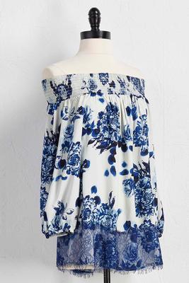floral lace trim off the shoulder top