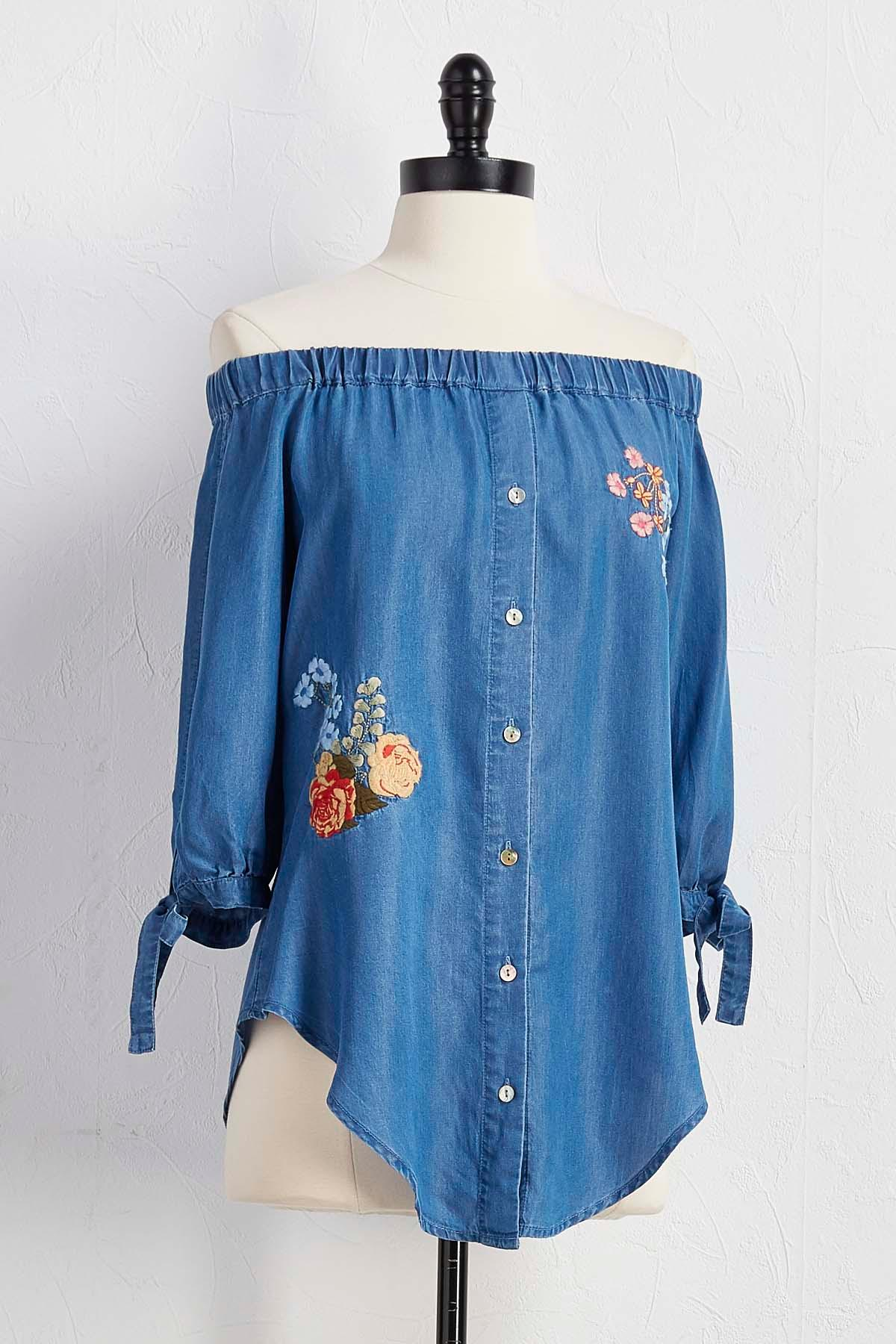 Embroidered Off The Shoulder Chambray Top