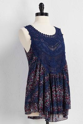 mesh and crochet floral babydoll top
