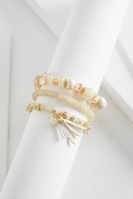 tassel charm beaded stretch bracelet