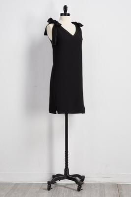 bow strap shift dress