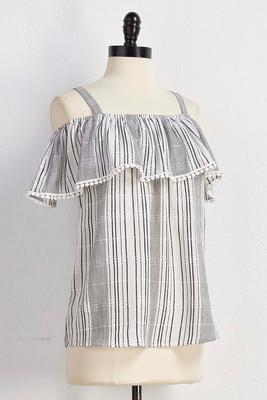 crochet trim striped bare shoulder top