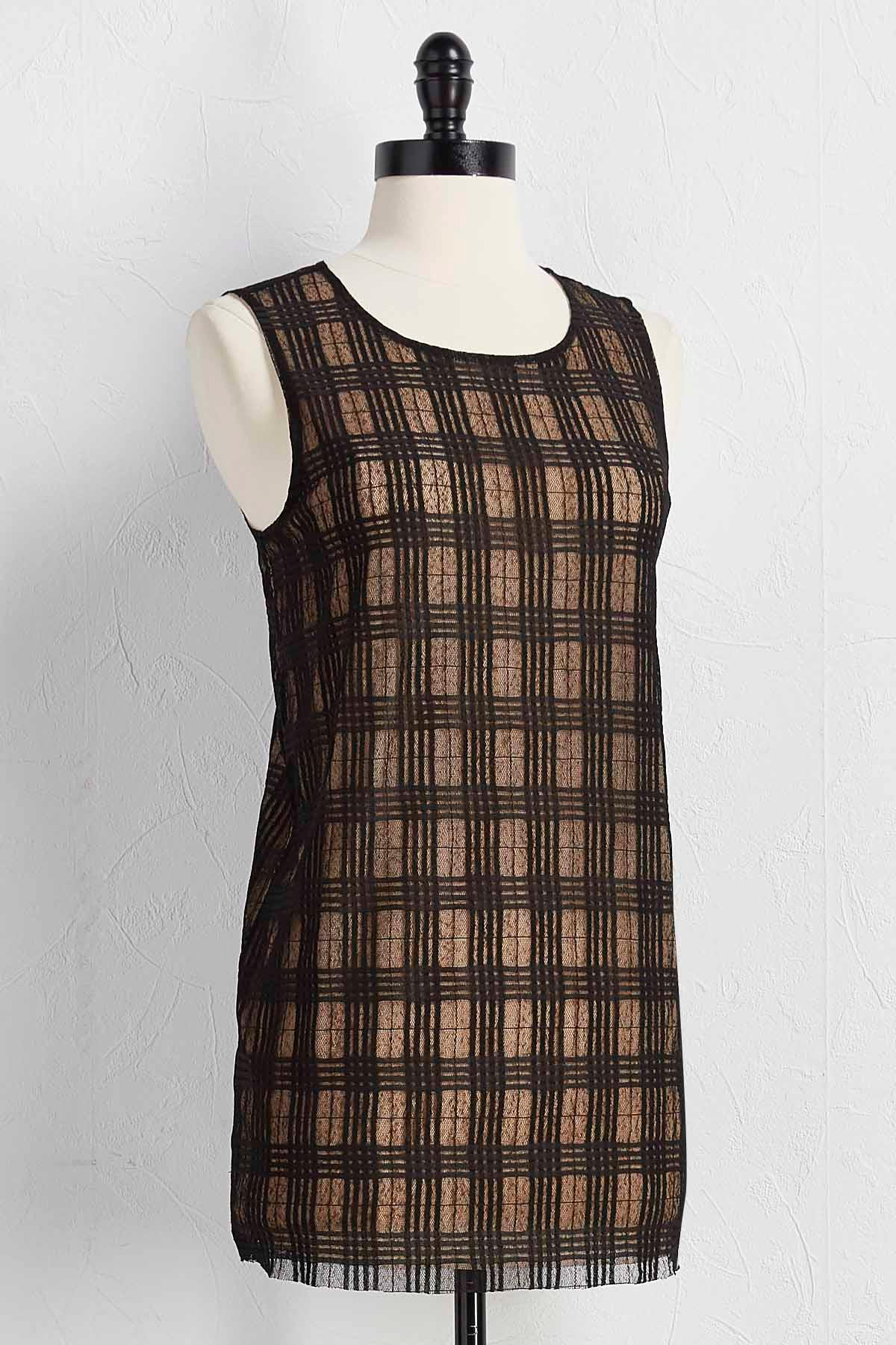 Checkered Lace Double Layer Tank
