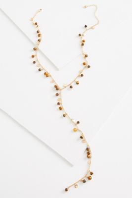shaky semi-precious beaded y-necklace