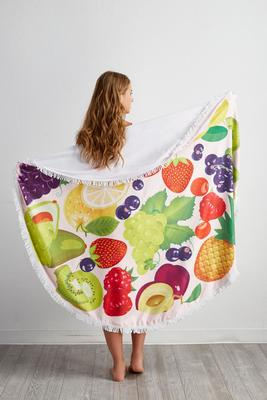 mixed fruit round beach towel blanket