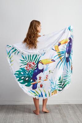toucan round beach towel blanket
