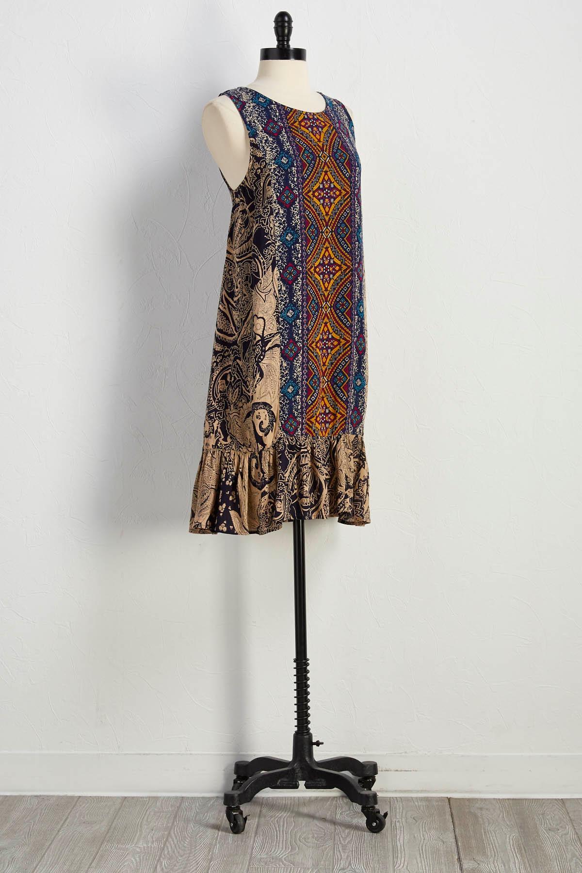 Mix Print Shift Dress