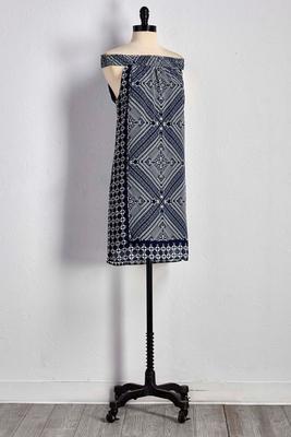 mixed print shift dress