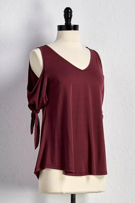 bare shoulder tie sleeve top