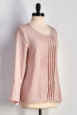 pleated bell sleeve top