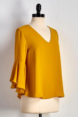 bell sleeve draped back top