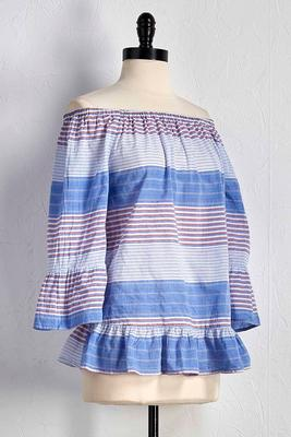 americana striped off the shoulder top