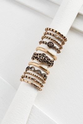 stacked textured ring set