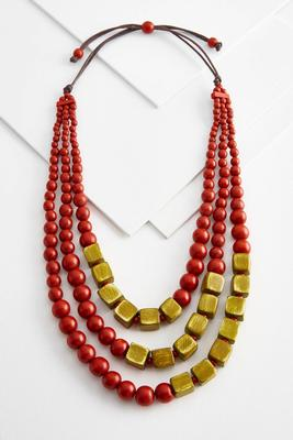 tiered wood bead necklace