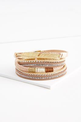 feather embellished wrap bracelet