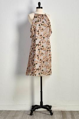 butterfly print bare shoulder shift dress