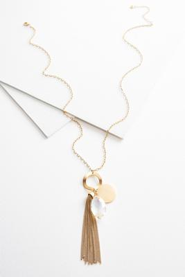 charm circle tassel necklace