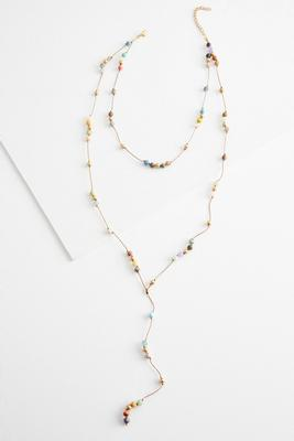 layered semi-precious bead y-necklace