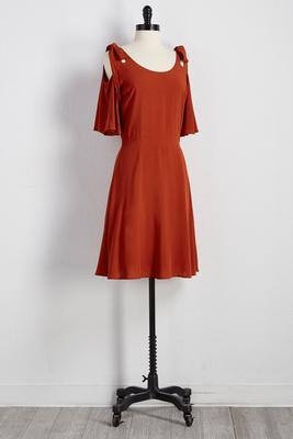 bare shoulder fit and flare dress