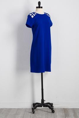 lattice shoulder shift dress