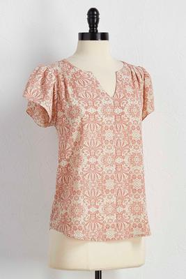 blush print ruffle sleeve top