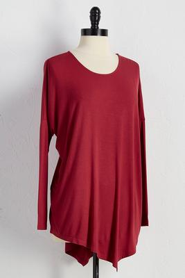 asymmetrical scoop neck tunic