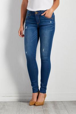 medium wash destruction skinny jeans