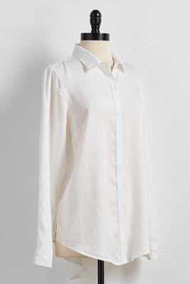 button down high-low tunic
