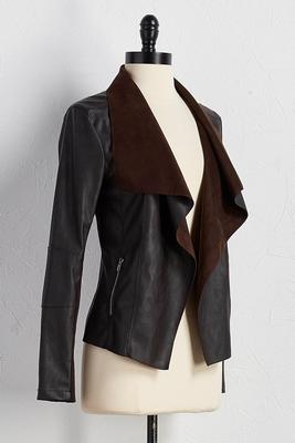 faux-leather draped jacket