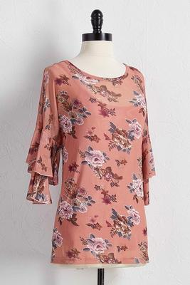 mesh floral tiered sleeve top