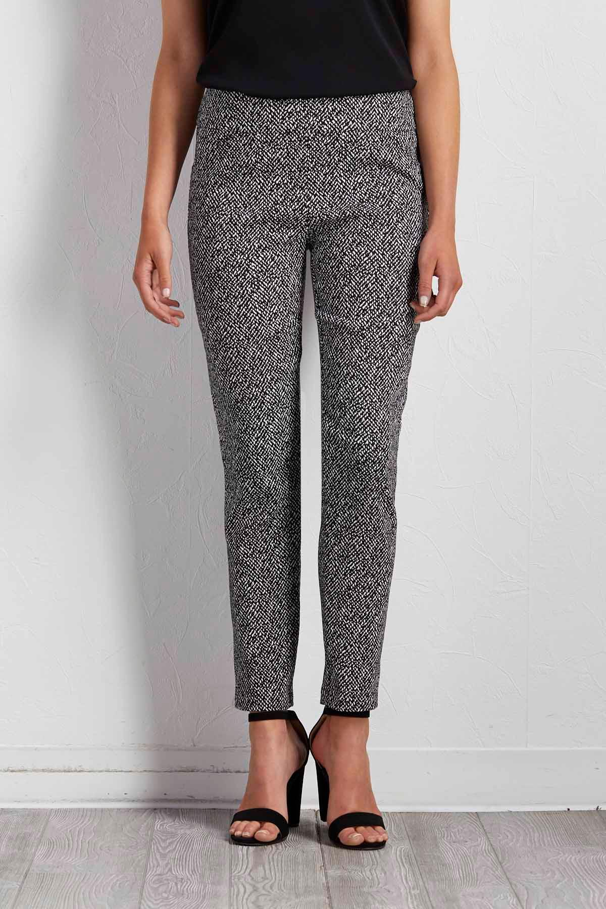 Black And White Ankle Stretch Pants