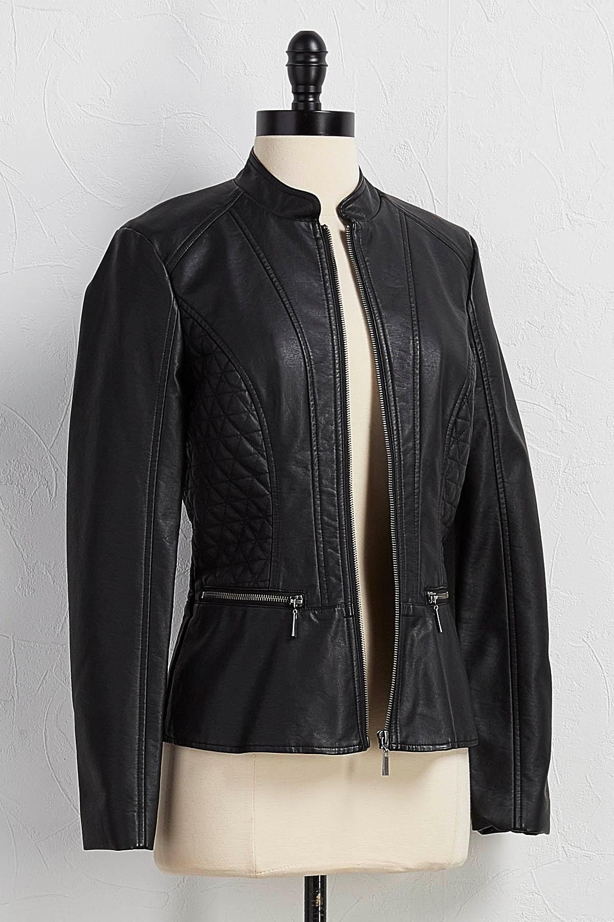 Versona | quilted faux leather peplum jacket