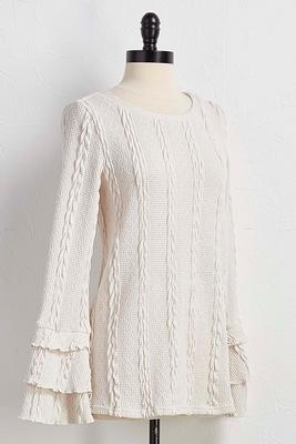 ruffle tiered cable knit top